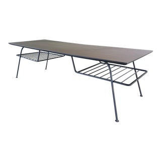 Mid Century Modern McCobb Style Wrought Iron Coffee Table With Magazine Rack For Sale