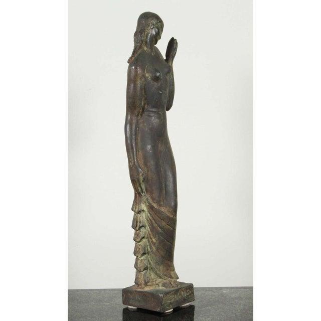 Signed Gladys Lewis Bush Art Deco bronze sculpture.