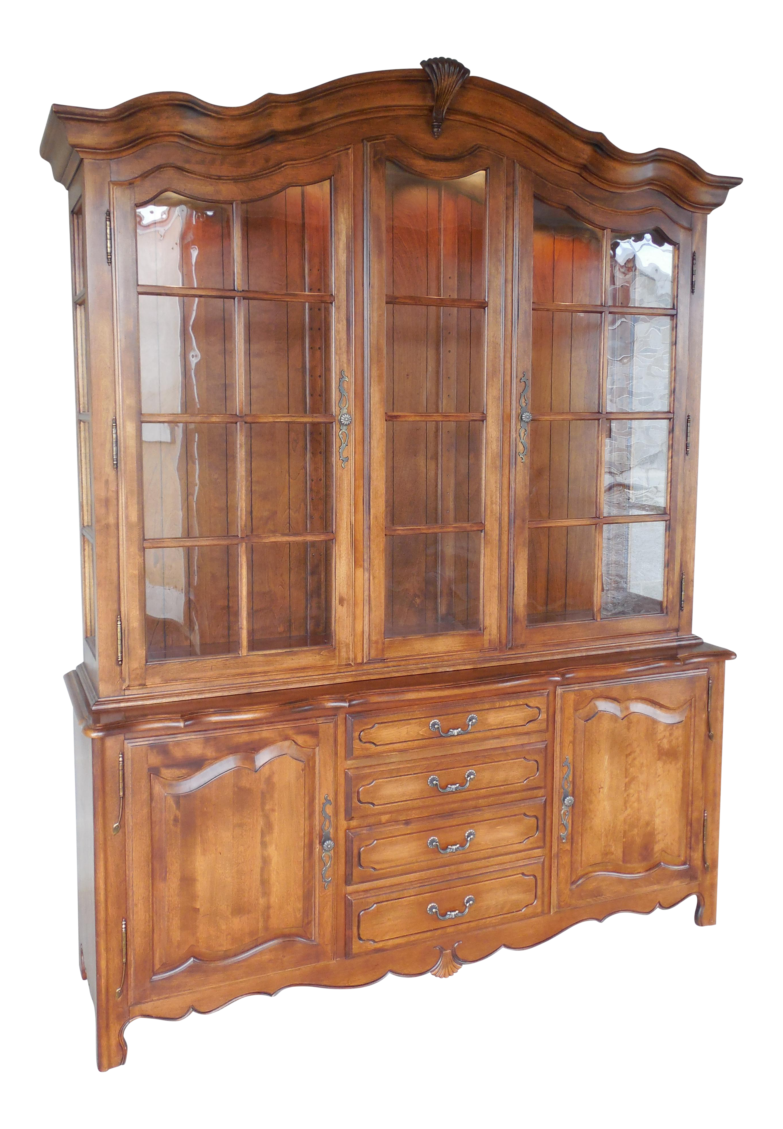 Ethan Allen Country French 2 Pc Lighted China Cabinet 26 6316 Finish 236