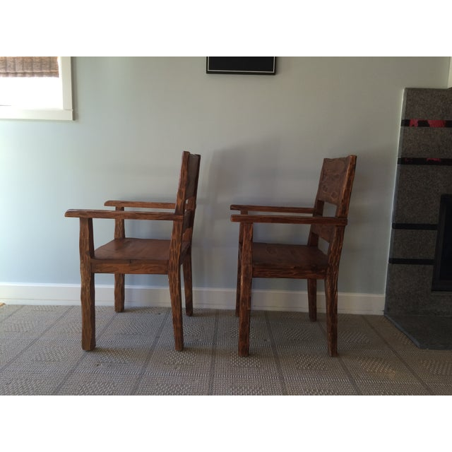 African Style Carved Wooden Chairs - A Pair - Image 7 of 11