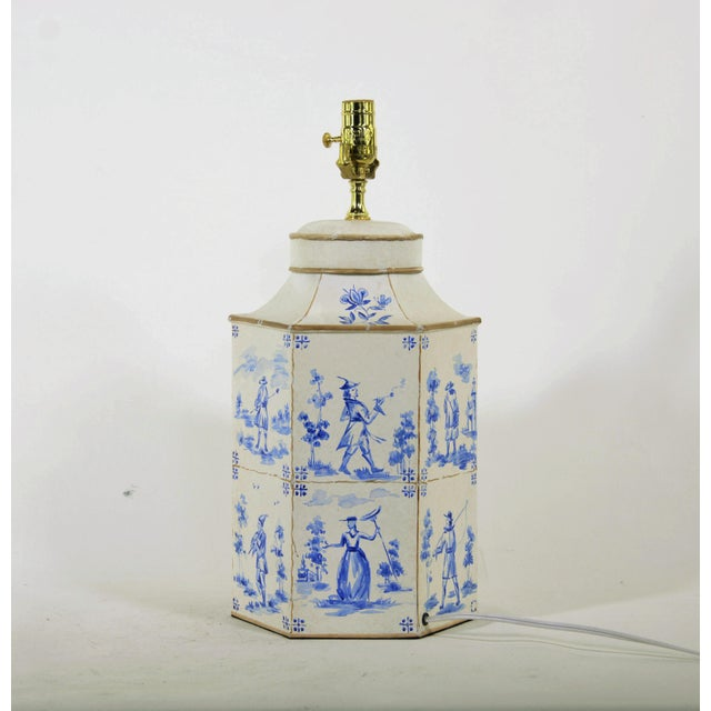 Vintage English Hand-Painted Blue and White in Delf Figures Tea Caddy Table Lamp For Sale - Image 4 of 7