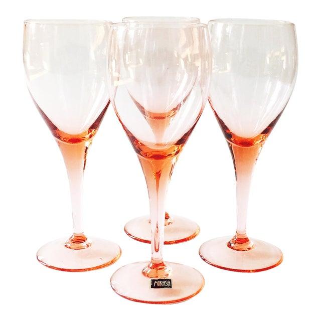 3920450fc7d Vintage Mikasa Pink Crystal Wine Glasses - Set of 4
