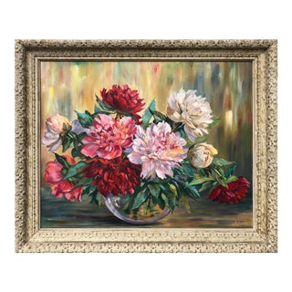 Vintage Floral Still Life Oil Painting of Peonies For Sale