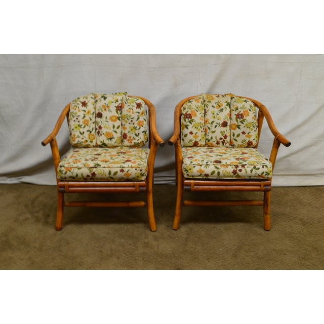 1960s Ficks Reed Mid-Century Rattan Lounge Chairs - A Pair For Sale - Image 5 of 13