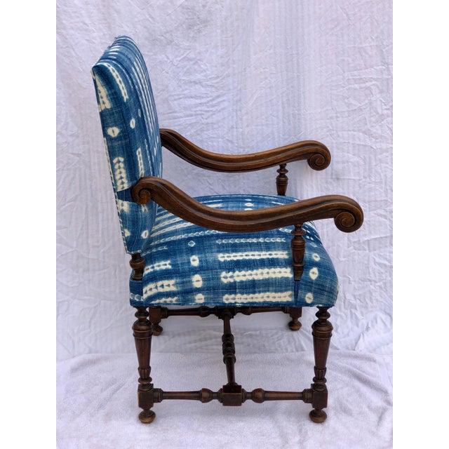 Antique Jacobean-Style Mahogany Mali Indigo Upholstered Armchair - Image 4 of 11