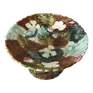 1880 Antique French Majolica Strawberries Comport DIsh For Sale