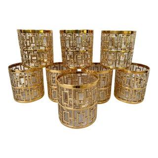 Vintage Imperial 24k Gold Shoji Low Ball Glasses - Set of 8 For Sale
