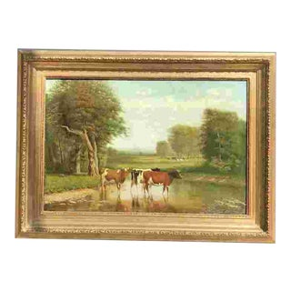 19th C. Clinton Loveridge Oil Painting of Cows For Sale
