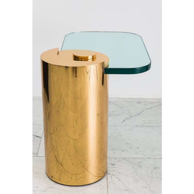 Metal Polished Bronze Sculpture Leg Table, Usa For Sale - Image 7 of 10
