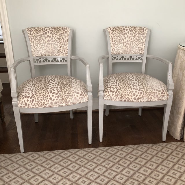 Fabric Cowtan & Tout Velvet Leopard Upholstered Gray Arm Side Chairs - a Pair For Sale - Image 7 of 9