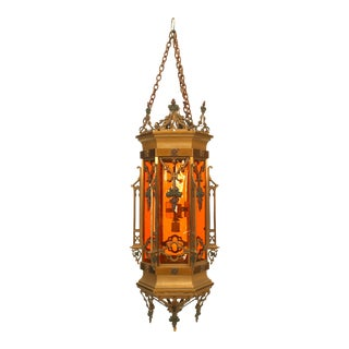 English Gothic Revival Bronze Hanging Lanterns For Sale