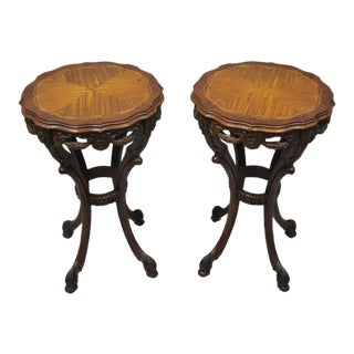 French Louis XV Style Mahogany Satinwood Inlay Round Side Tables - a Pair For Sale