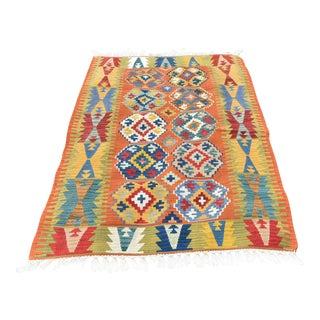 Antique Turkish Anatolian Handmade Decorative Multi Color Kilim Rug - 3′11″ × 5′10″ For Sale