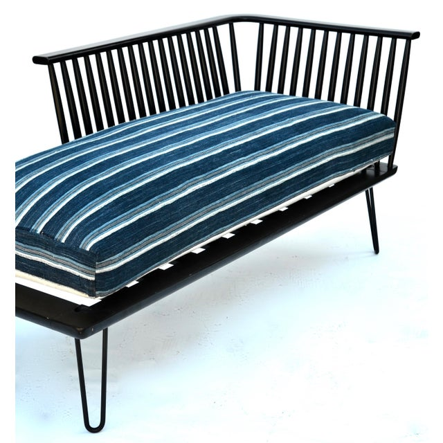 Blue Mid-Century Modern Daybed Settee With African Upholstery For Sale - Image 8 of 9