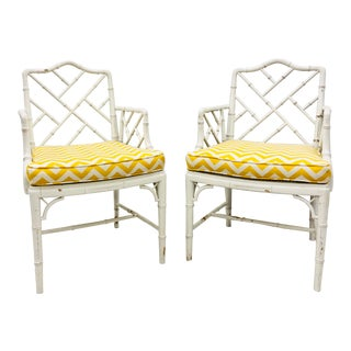 Vintage Faux Bamboo Chinese Chippendale Arm Chairs - a Pair For Sale