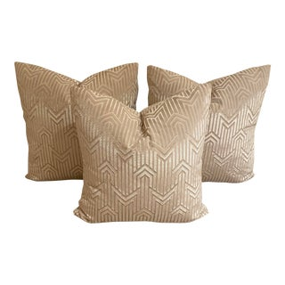 Art Deco Velvet Patterned Accent Pillows - Set of 3 For Sale