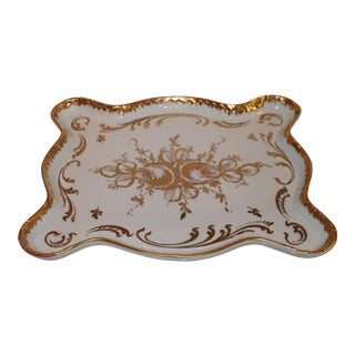 Vintage French Porcelaine Hand Painted Gilt Tray For Sale