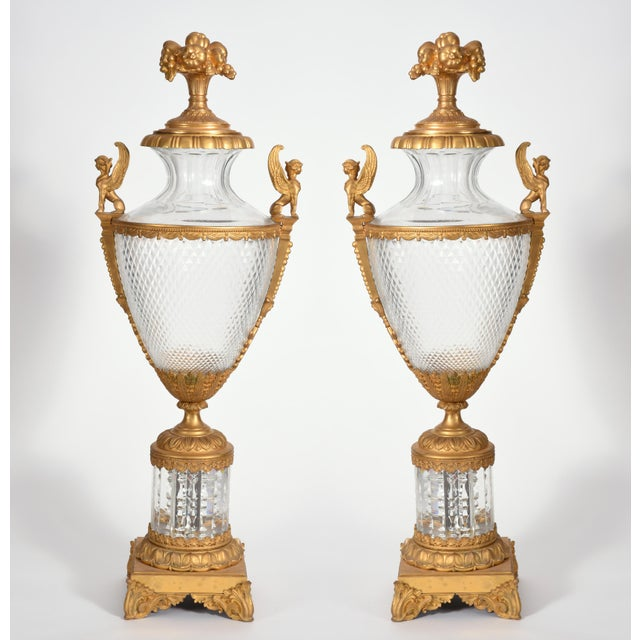 Hollywood Regency Mid-19th Century Large Bronze Cut Glass Urns - a Pair For Sale - Image 3 of 13