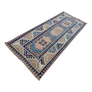 Distressed Oushak Carpet, Decorative Blue Colors Rug, Overdyed Flat Weave Handmade Rugs for Home & Office Decor 2'8'' X 6'6'' / 81 X 198cm For Sale