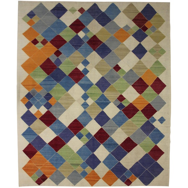 """Aara Rugs Inc. Modern Hand Knotted Kilim - 13'0"""" X 10'8"""" For Sale"""