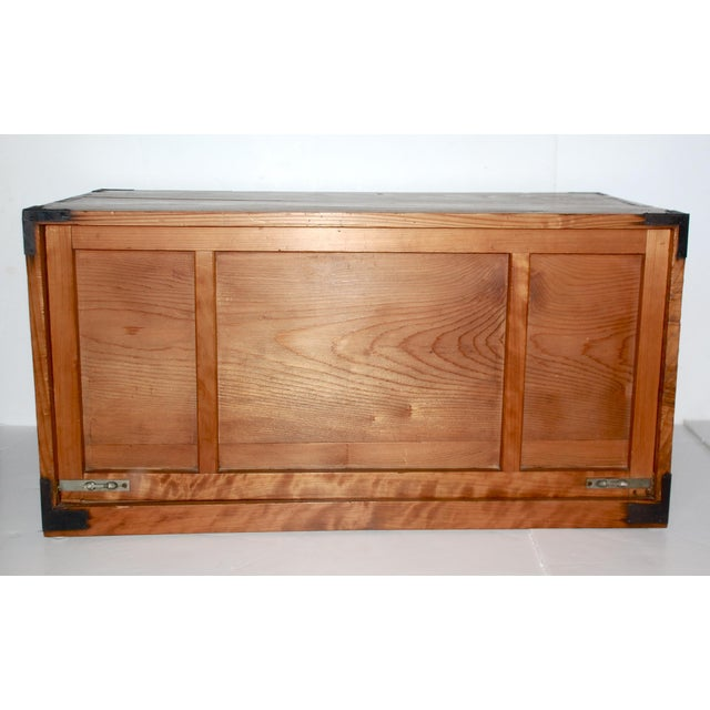 1920s Antique Japanese Wooden Tansu Box For Sale - Image 5 of 5