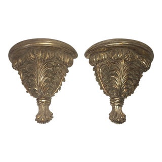 Gold Acanthus Leaf Wall Corbels Brackets - a Pair For Sale