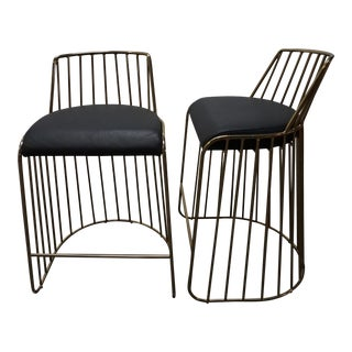 Custom Black Leather & Gold Metal Bar Stools- a Pair For Sale