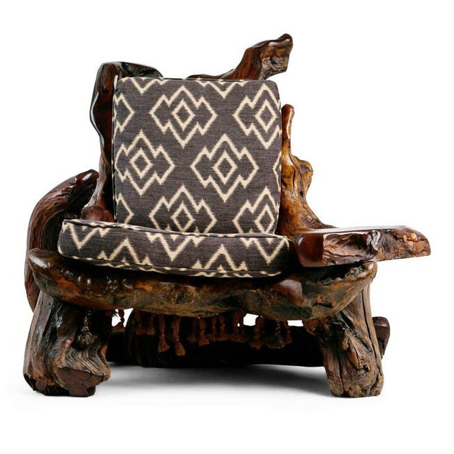 Fabric Handcrafted Freeform Live Slab Burl Redwood Armchair by Daryl Stokes For Sale - Image 7 of 13