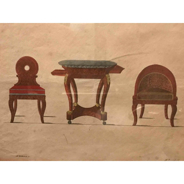 Framed hand-colored illustration of three-piece furniture set from France.