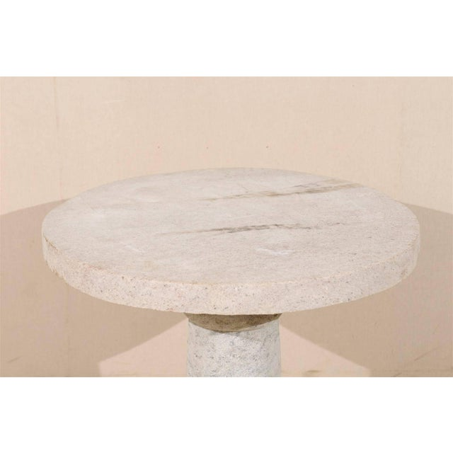 Contemporary Round Granite Contemporary Indoor/Outdoor Pedestal Table, Handmade For Sale - Image 3 of 8