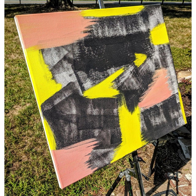 Original Abstract Neon Lime Salmon Pink and Black Painting For Sale In Charlotte - Image 6 of 13