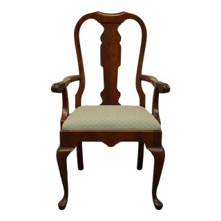 Queen Anne Pennsylvania House Solid Cherry Dining Arm Chair For Sale