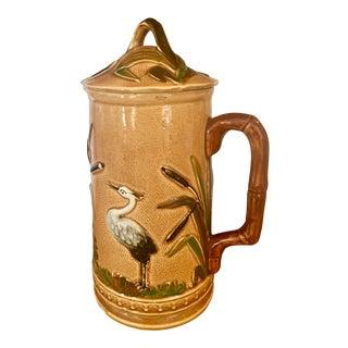 Antique English Majolica Teapot Coffeepot Heron in Bullrush For Sale