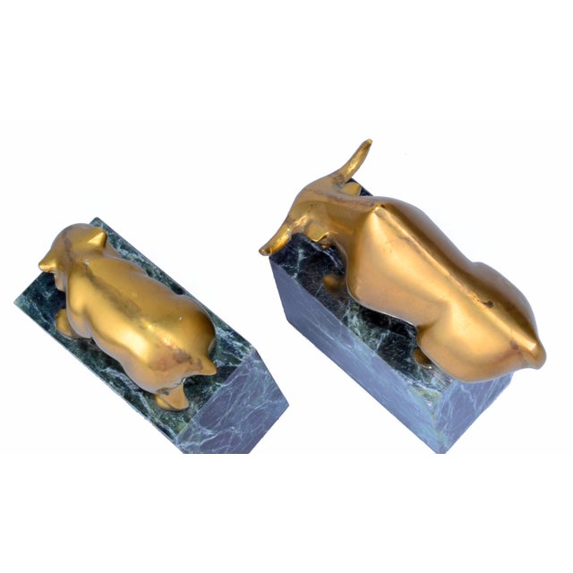 Brass Vintage Brass Bull & Bear Bookends - A Pair For Sale - Image 7 of 10