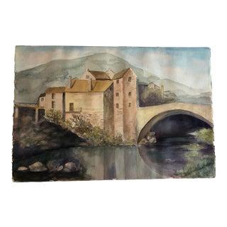European Castle and Bridge Watercolor For Sale