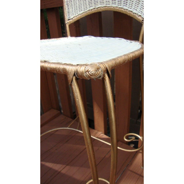 Gilt Wicker Wrought Iron Bar Stools - A Pair - Image 10 of 11