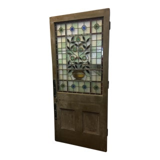 Beautiful 1920's English Stained Glass Door For Sale