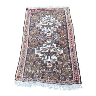 Persian Sine Kilim Wool Small Rug - 1′11″ × 3′2″ For Sale