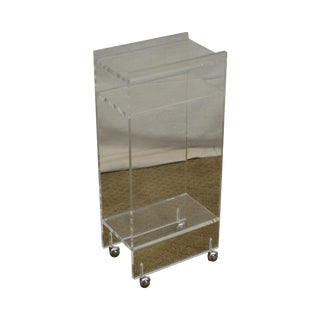 Mid Century Modern Lucite Side Table Magazine Stand on Castors