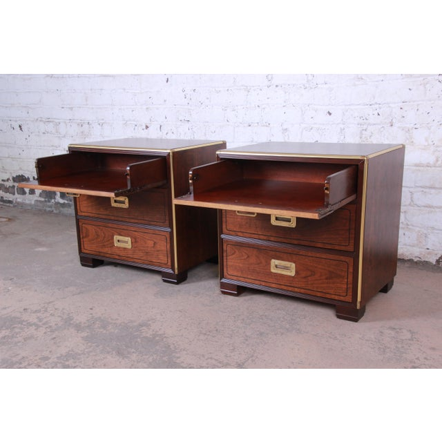 Metal Baker Furniture Campaign Walnut and Brass Nightstands - a Pair For Sale - Image 7 of 13