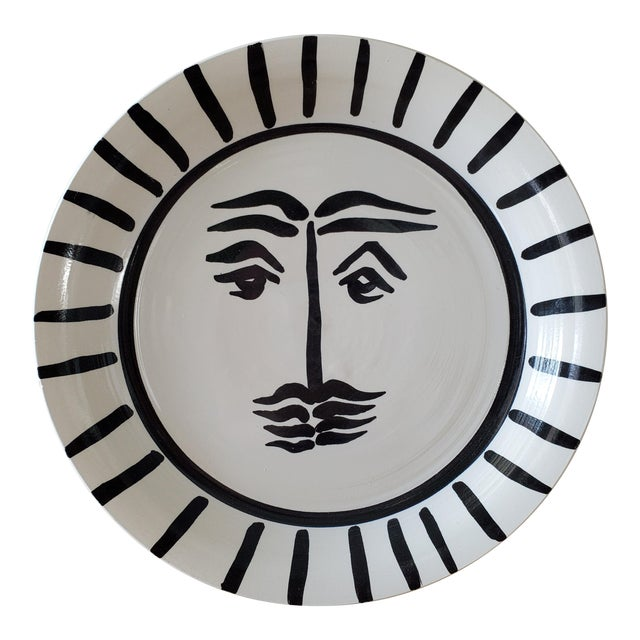 Picasso Style Abstract Sun Pottery Bowl For Sale