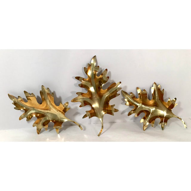 Metal 20th Century Brutalist Metal Leaf Wall Art - 3 Piece Set For Sale - Image 7 of 7