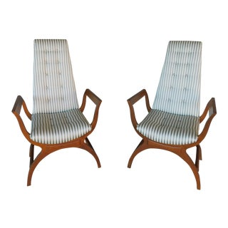 Vintage Mid-Century Hollywood Regency Club Chairs - Pair For Sale