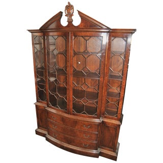 20th Century English Burr Walnut Bookcase or Breakfront For Sale
