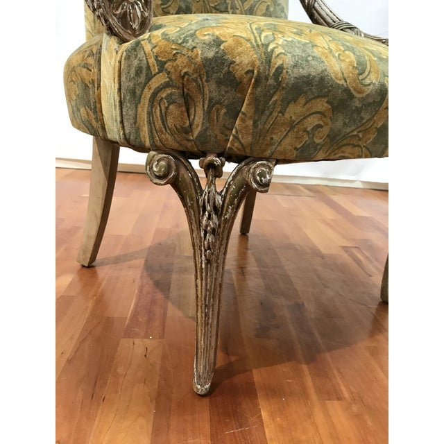 Olive Empire Grosfeld House Lee Jofa Printed Velvet Chair For Sale - Image 8 of 12