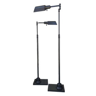 Restoration Hardware Bronze Library Task Floor Lamps - a Pair For Sale