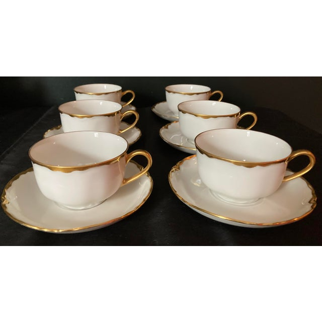 Hutschenreuter White Porcelain and Gold Cup and Saucers - Set of 6 For Sale - Image 13 of 13