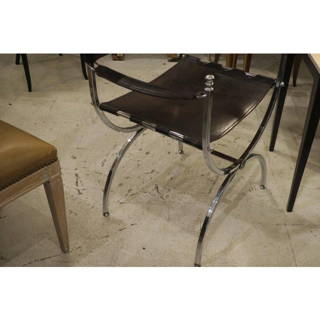 Pair of Chrome and Leather Directors Chairs Attributed to Maison Jansen For Sale - Image 9 of 10
