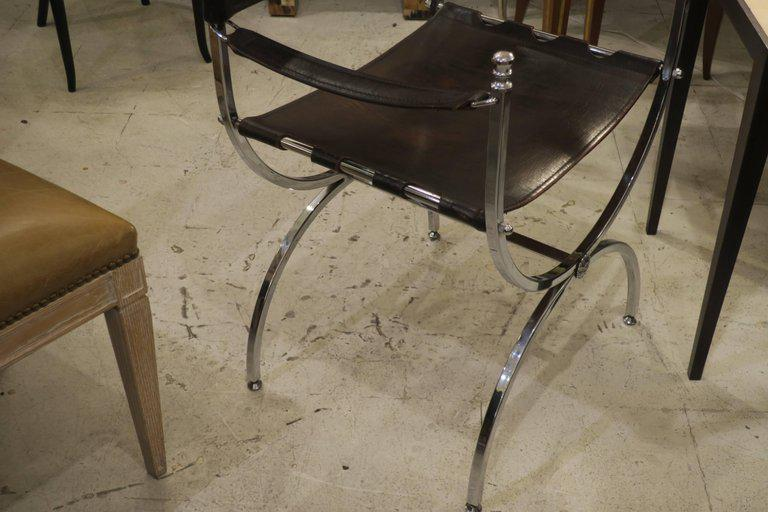 Pair Of Chrome And Leather Directors Chairs Attributed To Maison Jansen For  Sale   Image 9