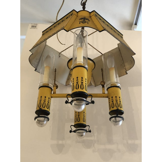 Metal French Iron and Tole Painted 4-Arm Chandelier For Sale - Image 7 of 10